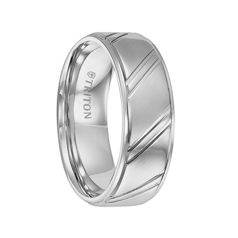 ZANE Brushed Raised Center Cobalt Wedding Ring with Diagonal Cuts and Step Edges by Triton Rings - 7.5 mm