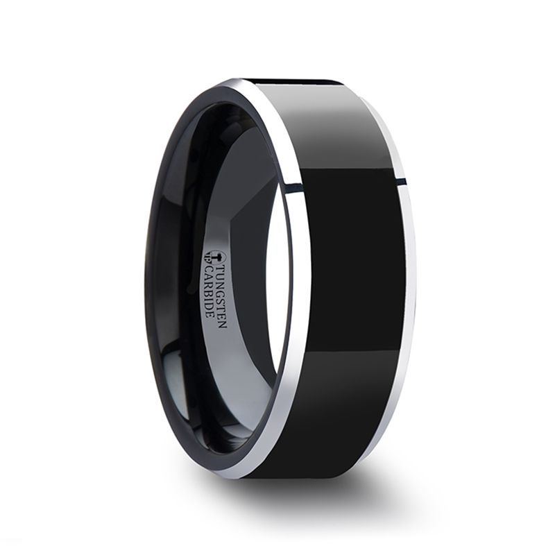 MACLAREN Black Polish Finished Center Tungsten Wedding Band with Polished Gray Tungsten Beveled Edges - 4mm - 8mm