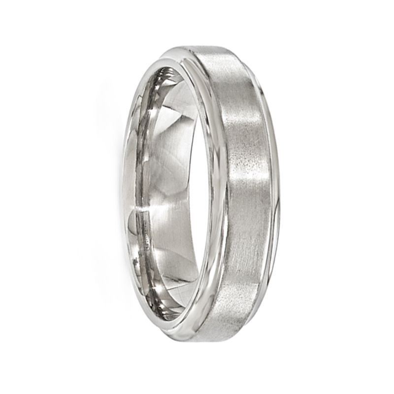 POLYEUCTUS Titanium Ring with Raised Brushed Center by Edward Mirell - 6 mm