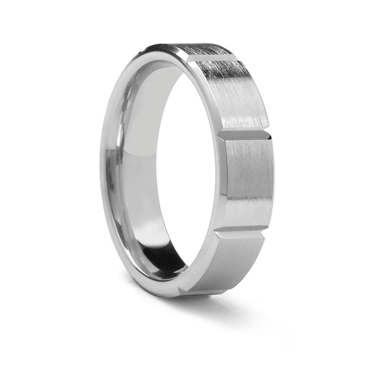 Horizontal Grooved Palladium Ring by Benchmark