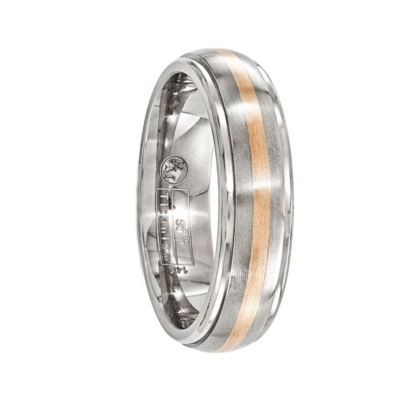 FIDES Titanium Ring with 14k Rose Gold Inlay by Edward Mirell