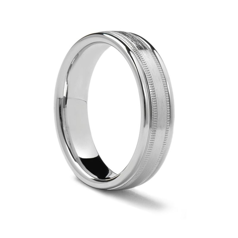 Polished Edges Flat Palladium Ring with Dual Milgrains & Brushed Center by Benchmark