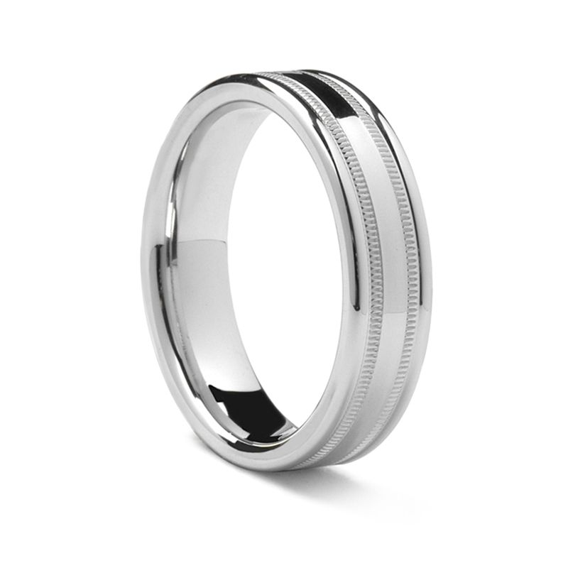 Double Milgrain Palladium Ring by Benchmark