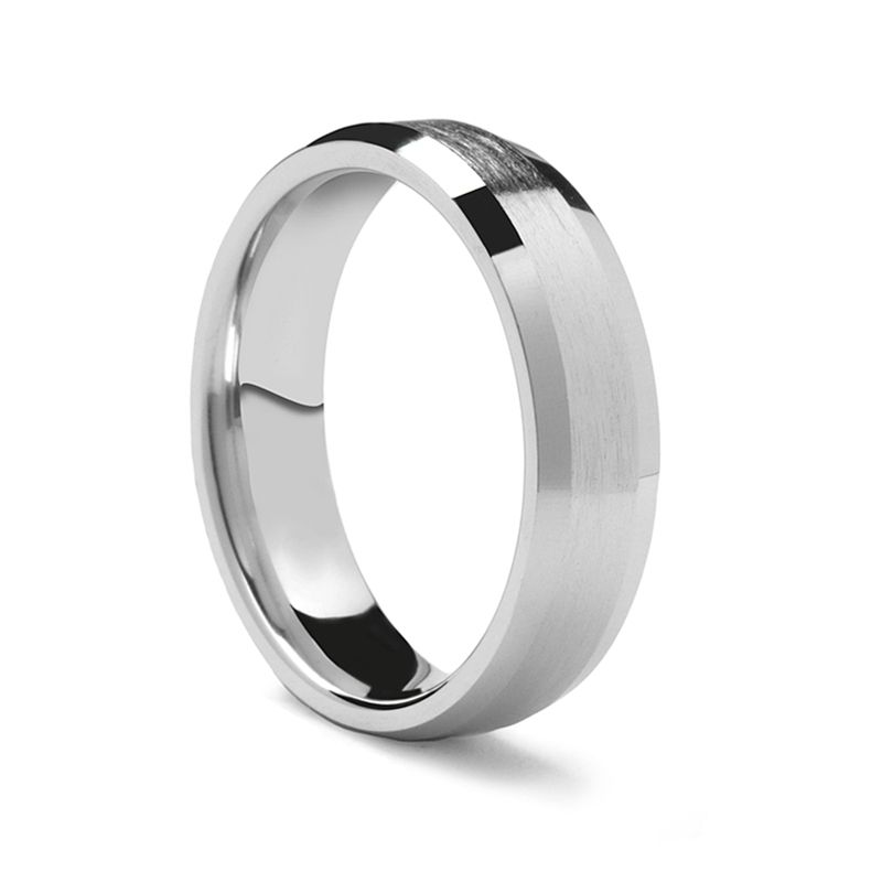 Flat Beveled Palladium Ring with Brushed Center by Benchmark