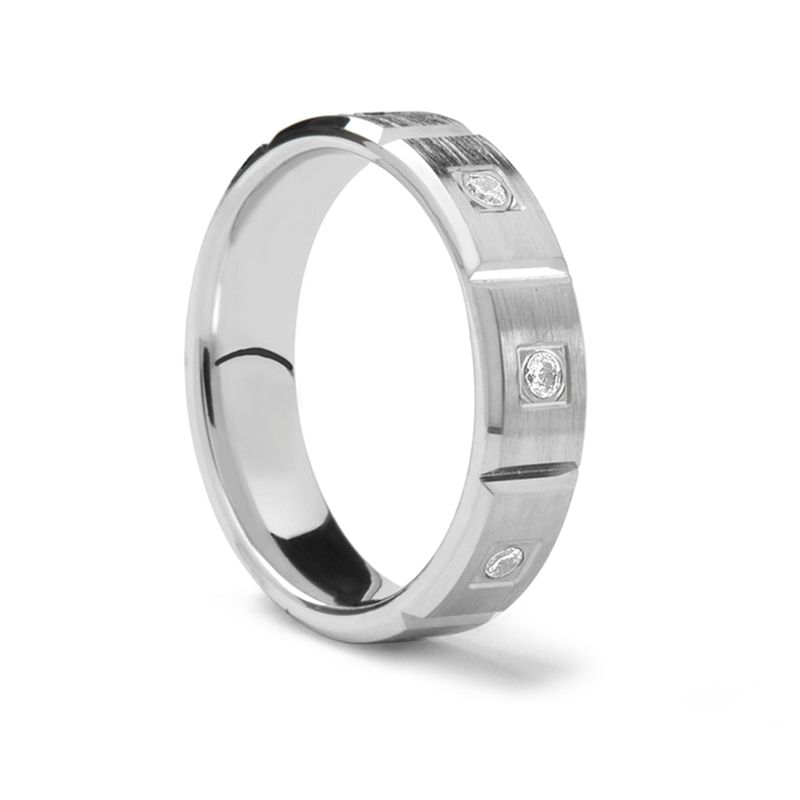 Horizontal Grooved Palladium Ring with Diamonds by Benchmark