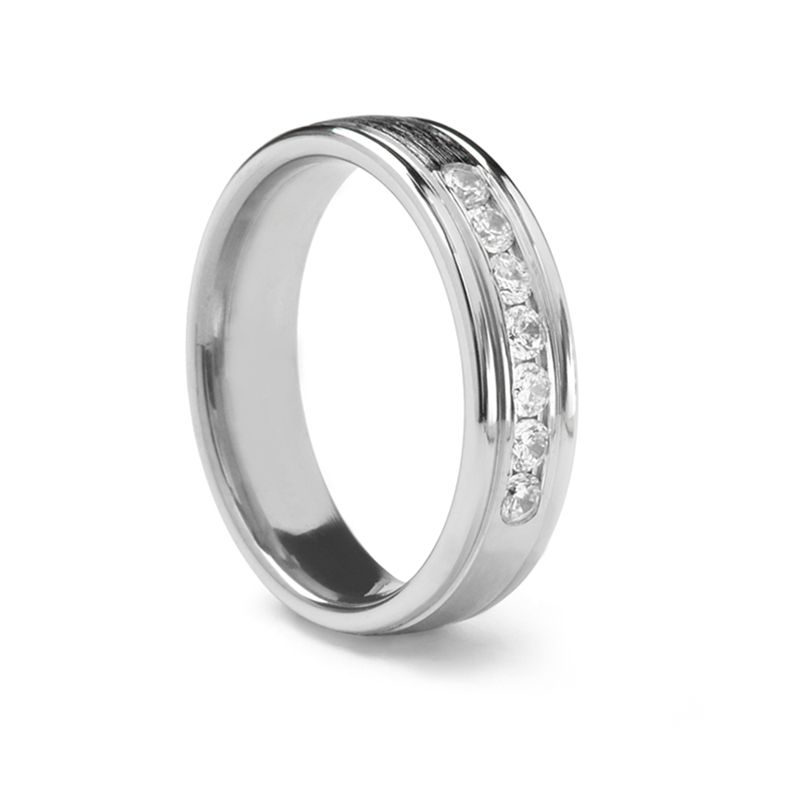 Slightly Domed Palladium Ring with Diamonds by Benchmark