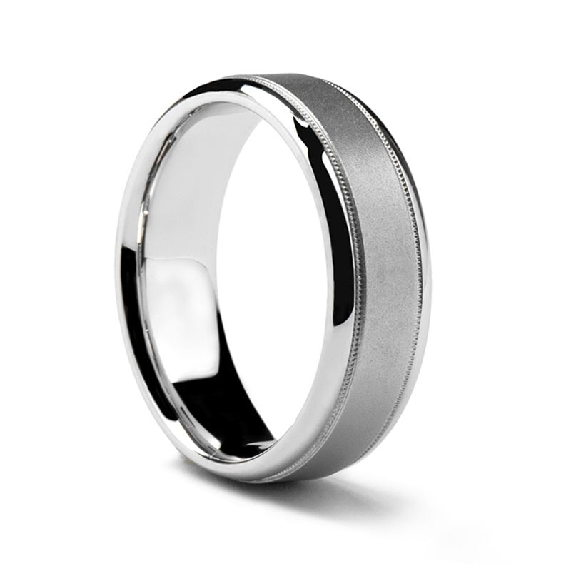 Matte Center White Gold Ring by Sossi - 7mm