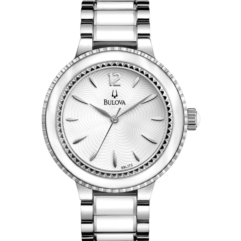 Ladies' Accu-Swiss Classic Watch White Face Stainless Steel Band by Bulova