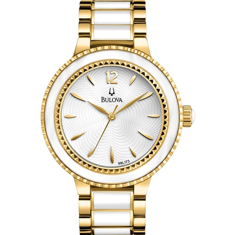 Ladies' Classic Collection Watch White Face Stainless Steel Band by Bulova