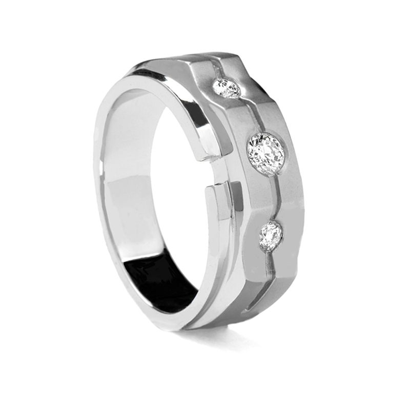 Grooved Raised Center White Gold Ring by Sossi - 8mm