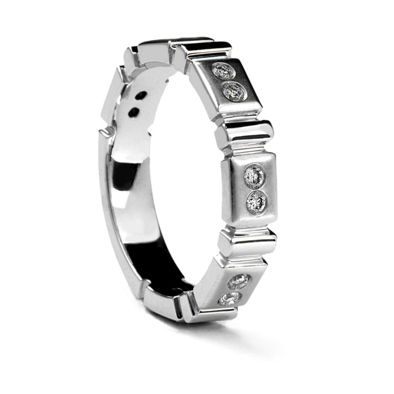 Ladies' Carved White Gold Ring with 12 Diamonds by Sossi - 4mm