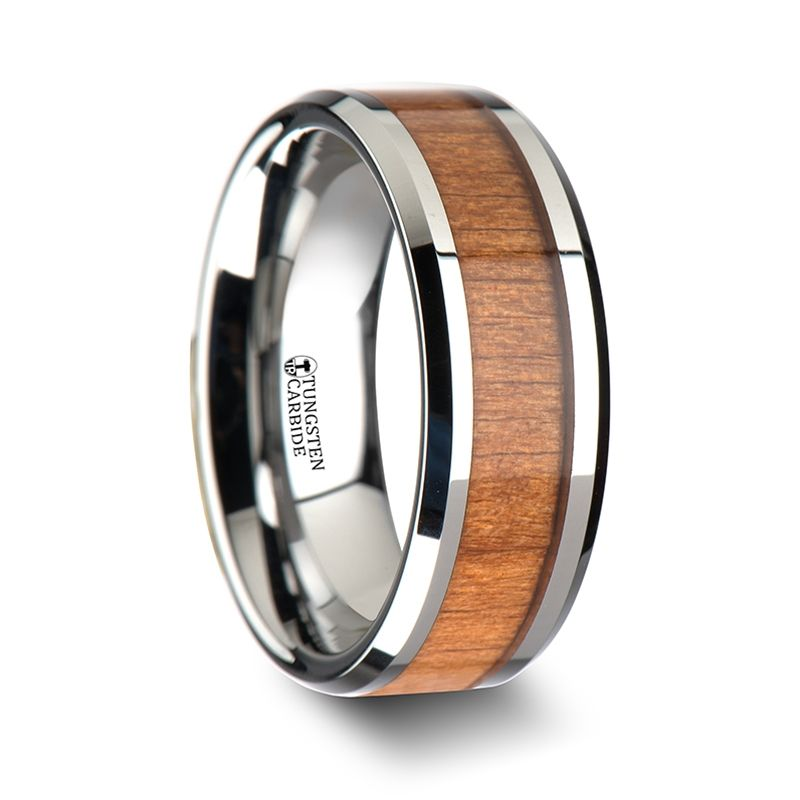 BRUNSWICK Tungsten Wedding Ring with Polished Bevels and American Cherry Wood Inlay - 6mm - 10mm