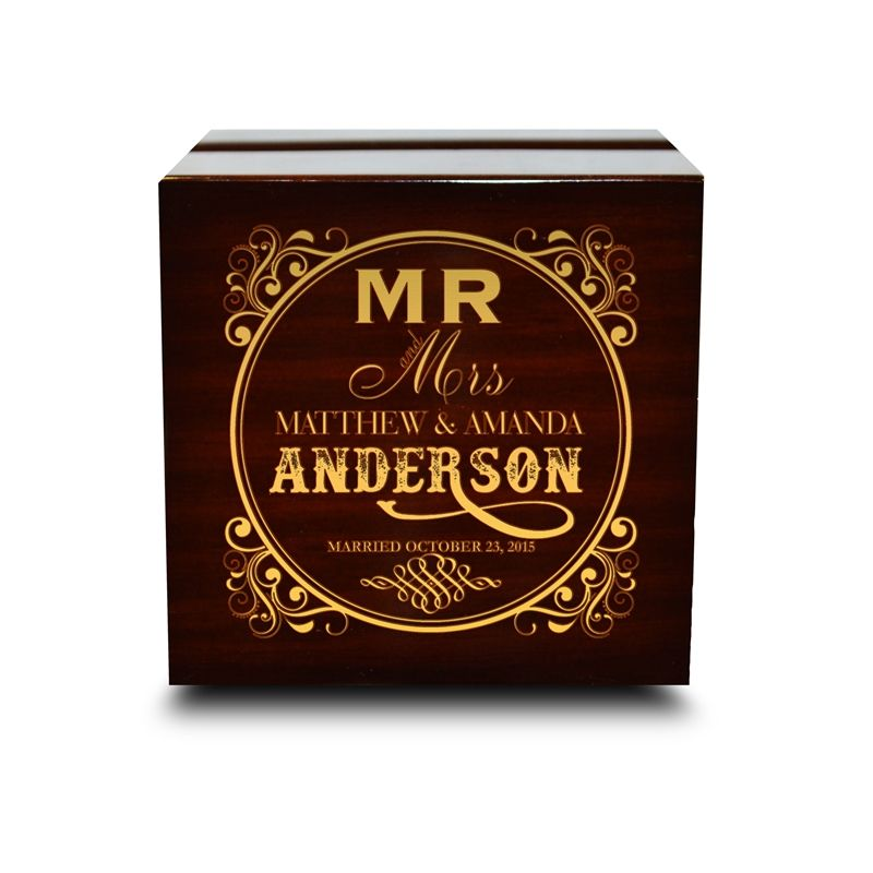 Chocolate Dark Wooden Wedding Ring Box
