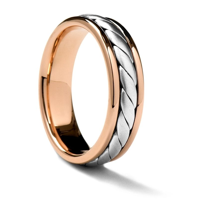 Rose Gold Ring with White Gold Rope Inlay by Sossi - 7mm