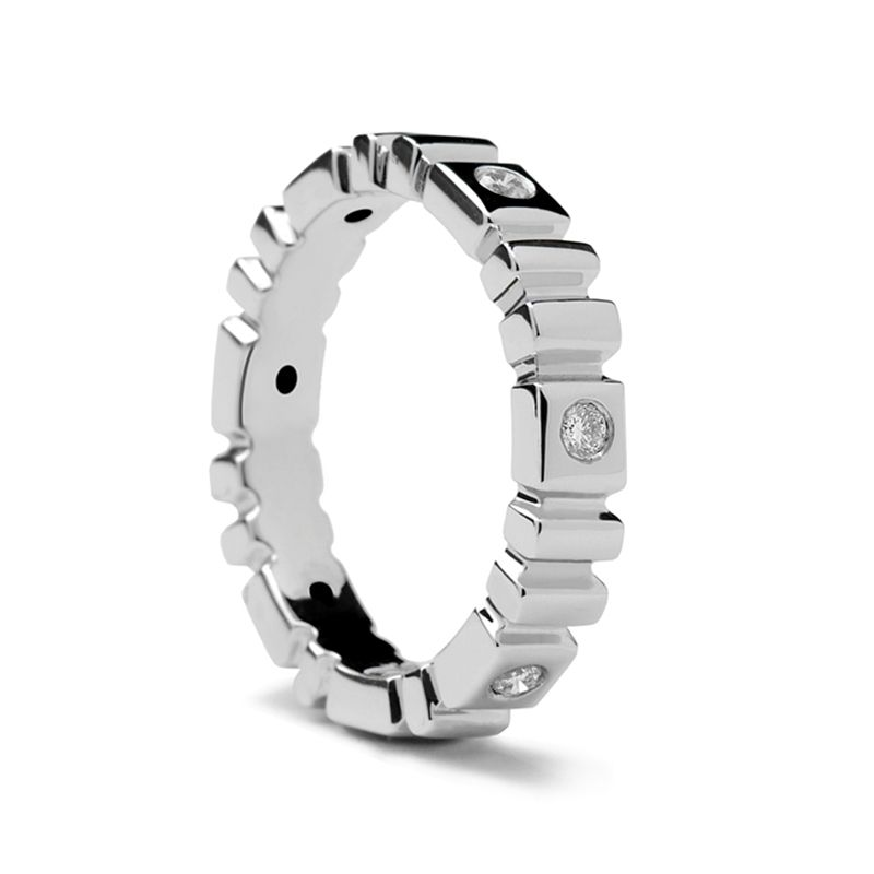 Ladies' Carved White Gold Ring with 6 Diamonds by Sossi - 4mm