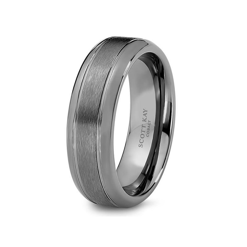 Grey Cobalt Brushed Center Wedding Band for Men From the Prime Collection by Scott Kay - 7 mm