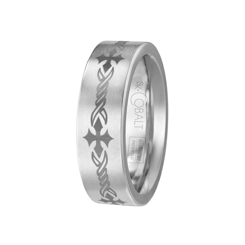 White Cobalt Wedding Band for Men From the Native Collection by Scott Kay - 7 mm