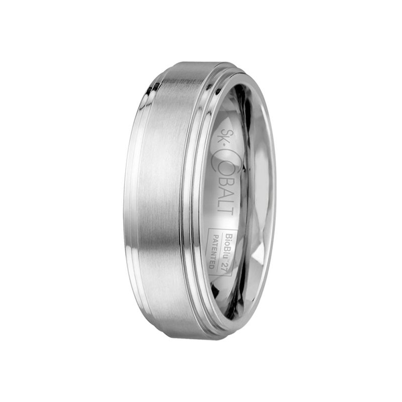 White Cobalt Mens Wedding Band From the Prime Collection by Scott Kay - 9 mm