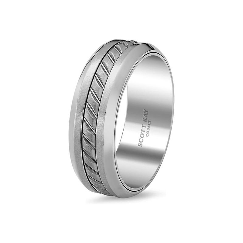 Grey Cobalt & Black Titanium Wedding Band for Men From the Unity Cobalt Collection by Scott Kay - 8 mm