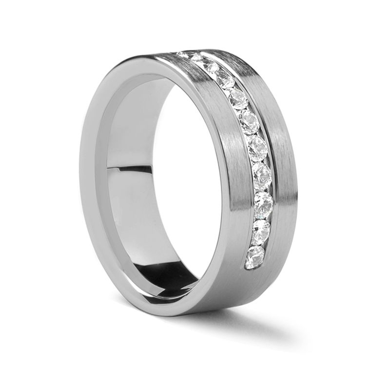 Flat Brushed Palladium Ring with .96 ct Diamonds by Benchmark - 8 mm