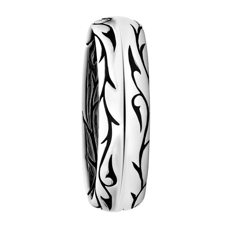 14kt White Gold Sparta Design Mens Wedding Band From the Vintage Collection by Scott Kay - 5 mm