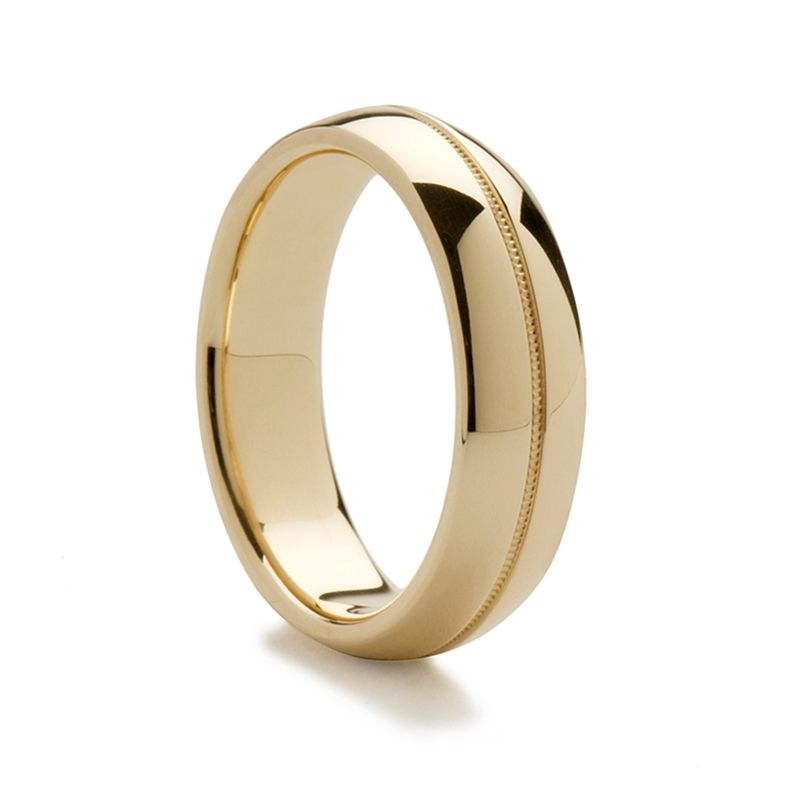 14k Yellow Gold Women's Domed Ring with Milgrain Center