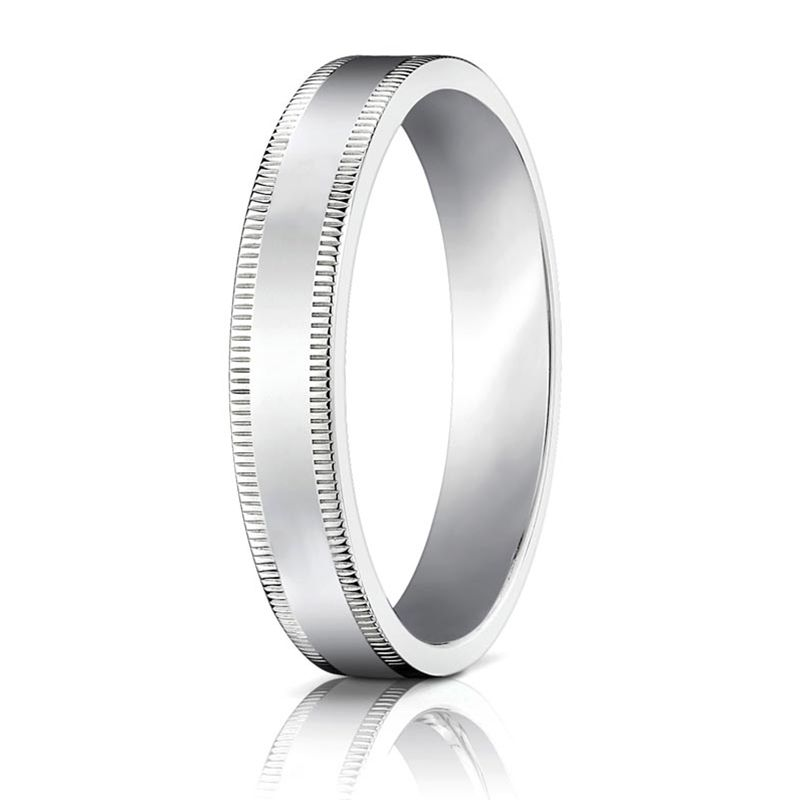 Flat Palladium Ring with Milgrain Edges by Benchmark