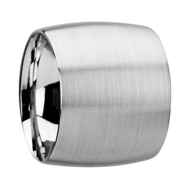 CORONADO Domed Tungsten Carbide Ring with Brushed Finish - 20 mm