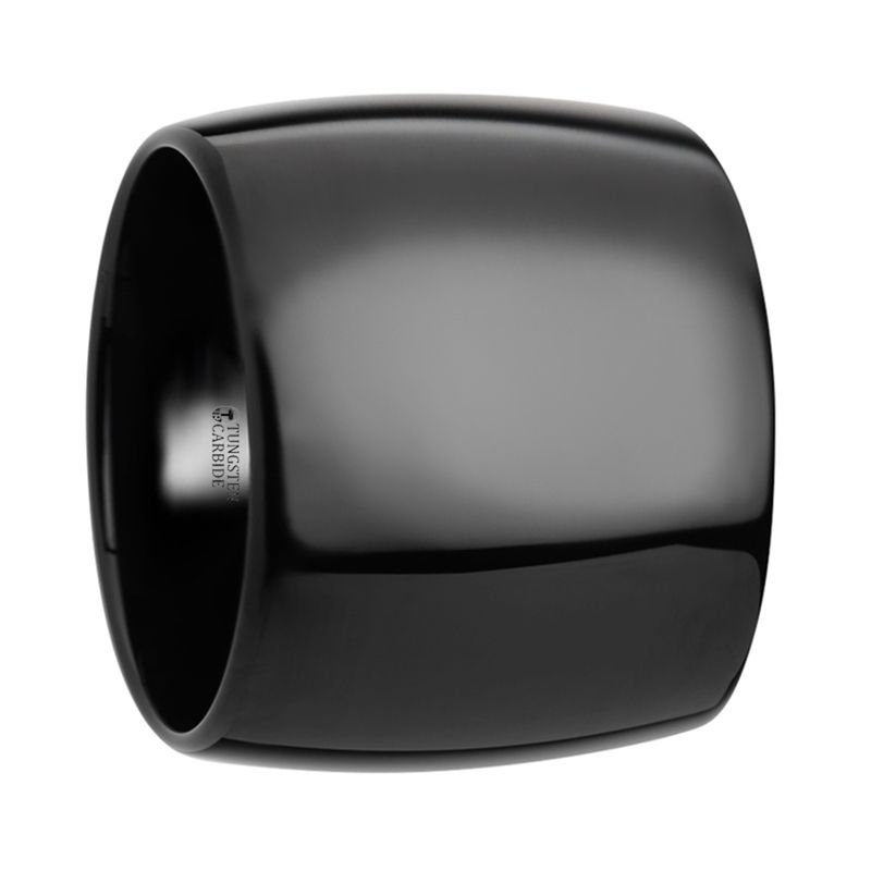 FENRIR Domed Black Tungsten Carbide Ring with Polished Finish - 20 mm