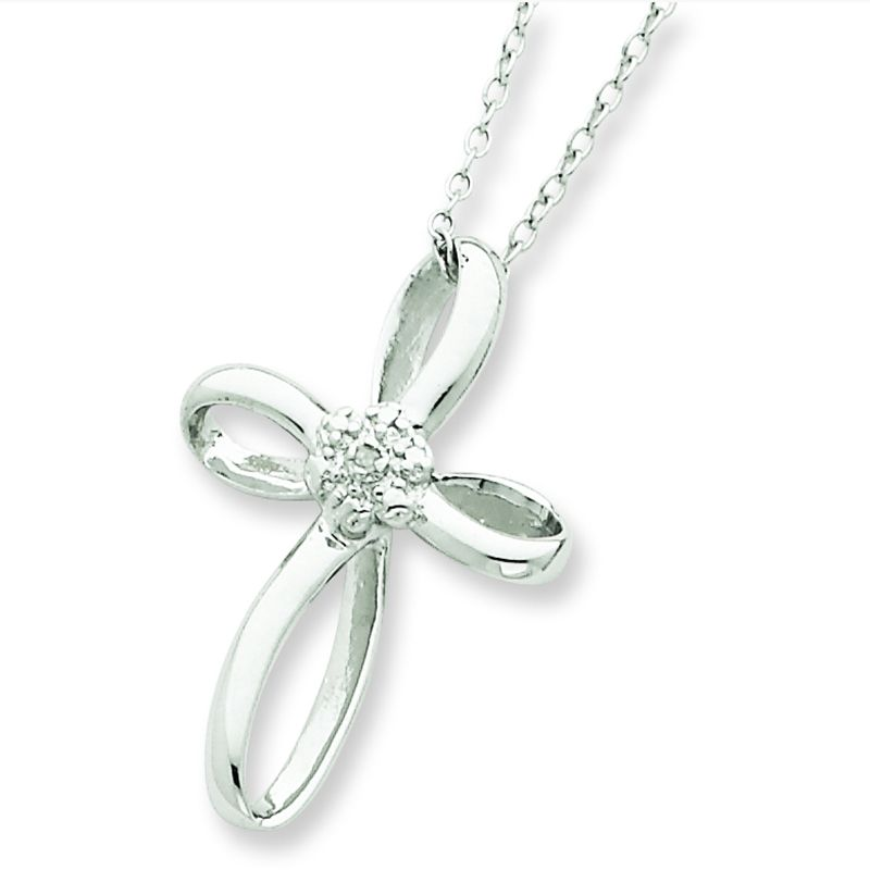 "Sterling Silver Cross Diamond 18"" Necklace"