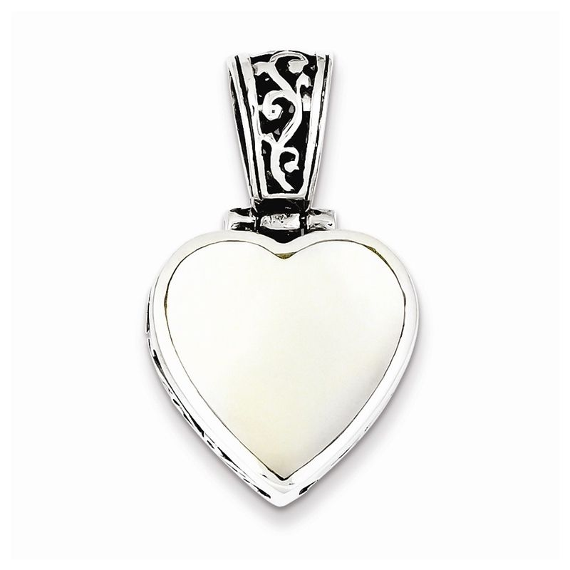 "Sterling Silver Reversible Mother Of Pearl Heart Pendant18"" Necklace"