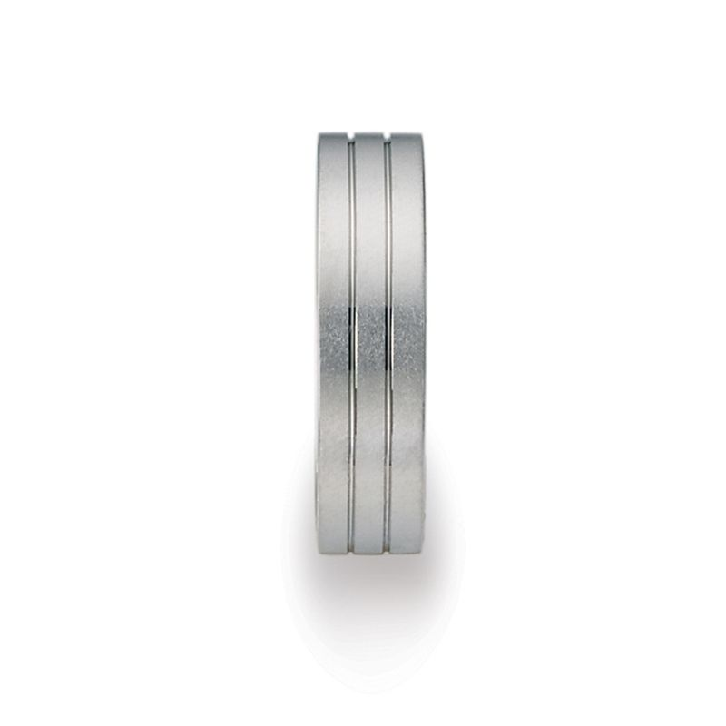 Flat Grooved 18k White Gold Ring with Brushed Finish by Benchmark