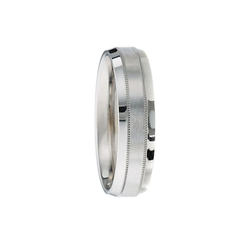 CAMBRIDGE by Benchmark Flat Beveled Palladium Wedding Ring with Dual Milgrain and Satin Center