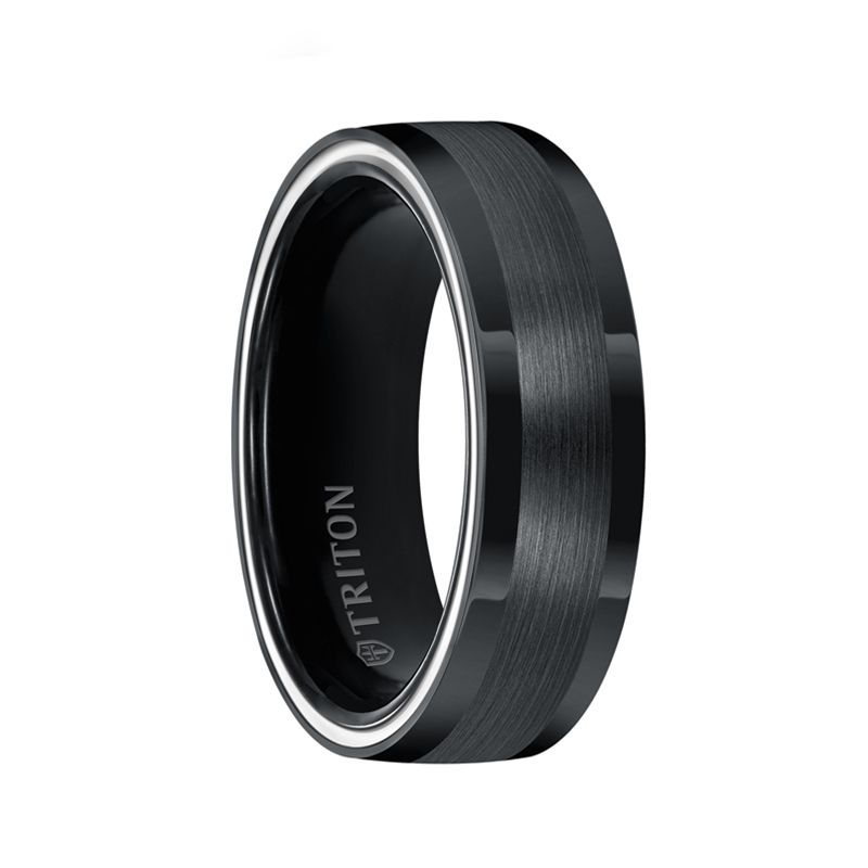 GIL Dome Black TungstenAIR Comfort Fit Band with Arctic White Side Color Treatment and Satin Finish by Triton Rings - 7mm