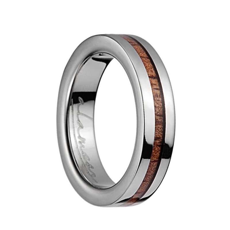 Titanium Polished Wedding Ring With Pink Ivory Inlay - 4mm - 10mm