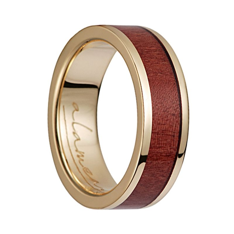 14K Yellow Gold Flat Wedding Band With Pink Ivory Wood Inlay - 6mm