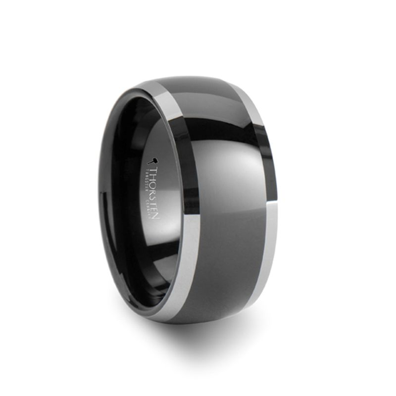 MEMPHIS Domed Black Tungsten Wedding Band with Polished Edges - 10mm