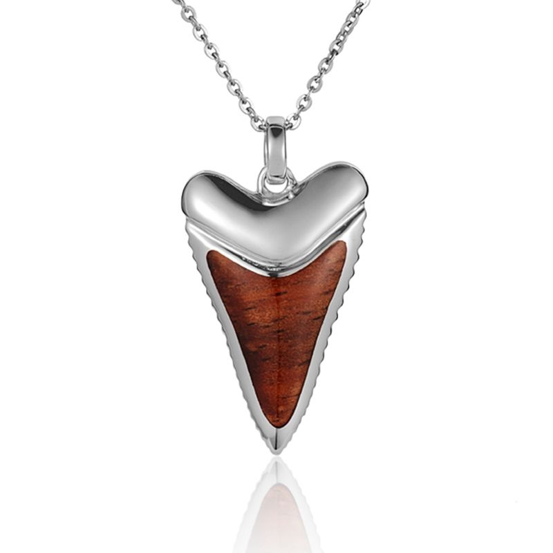 """Sterling Silver Koa Wood Shark Tooth Pendant18"""" Necklace"""