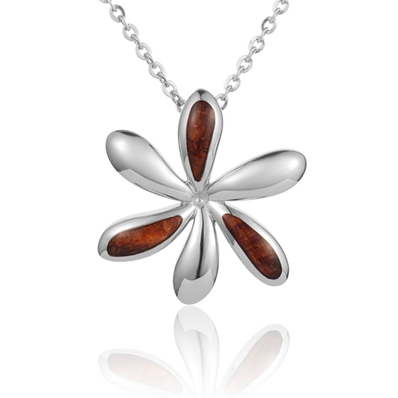 """Sterling Silver Koa Wood Offset Inlay Tiare Flower Pendant18"""" Necklace"""
