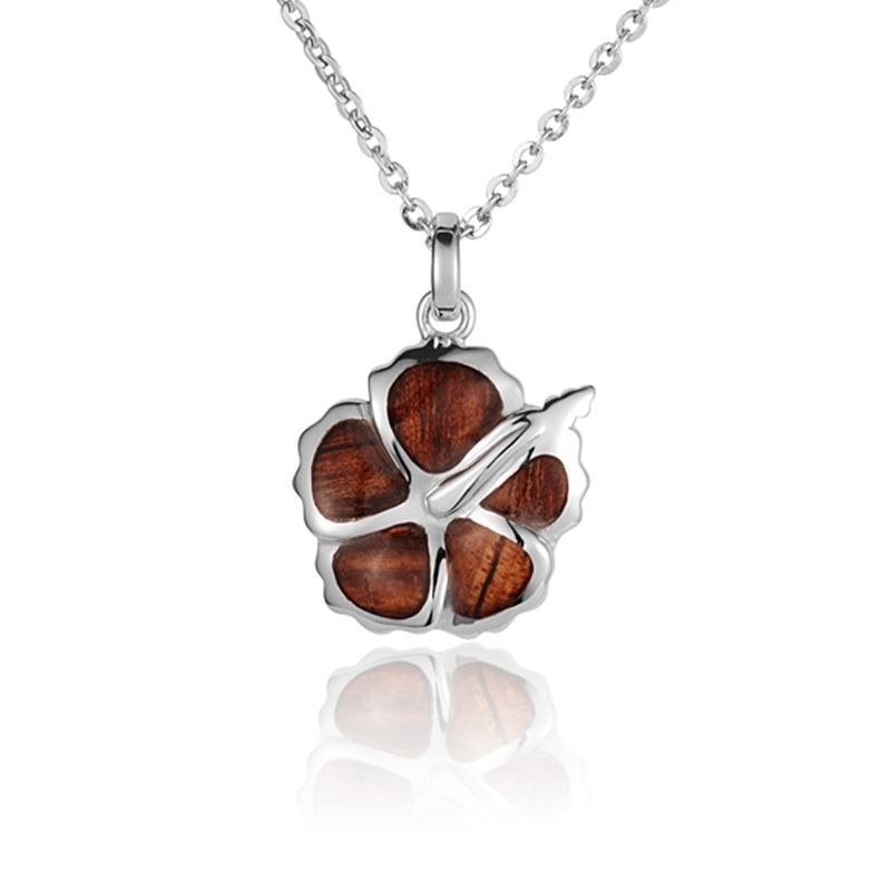 """Sterling Silver Koa Wood Hibiscus Flower Pendant18"""" Necklace"""