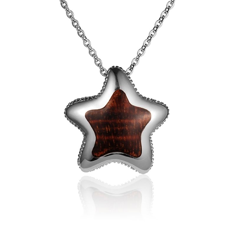"""Sterling Silver Koa Wood Solid Inlay Cushion Starfish Pendant18"""" Necklace"""