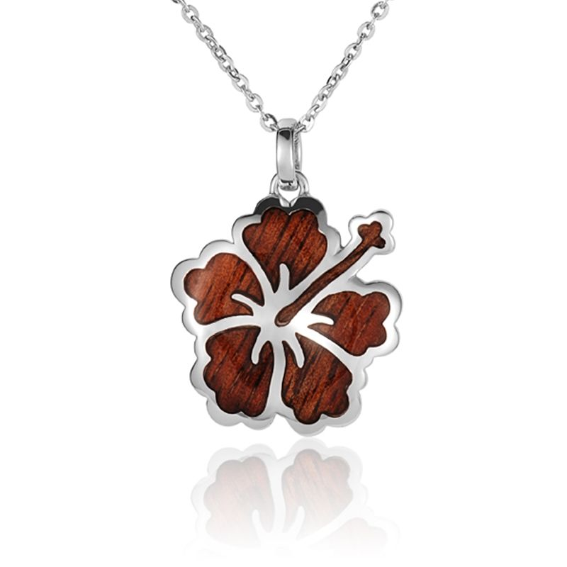 """Sterling Silver Koa Wood Intricate Hibiscus Pendant18"""" Necklace"""