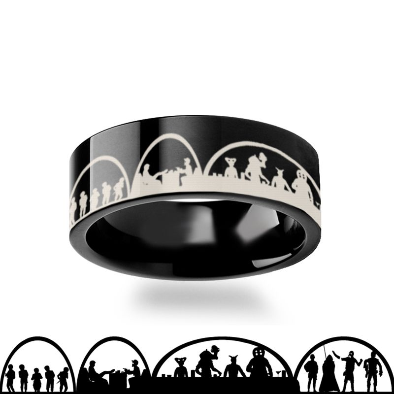 Mos Eisley Cantina A New Hope Star Wars Greedo and Han Solo Black Tungsten Engraved Ring - 4mm - 12mm