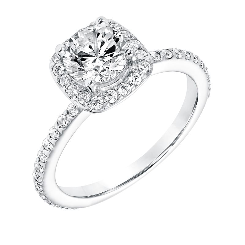 BARONESS Square Halo Diamond Engagement Ring Accents