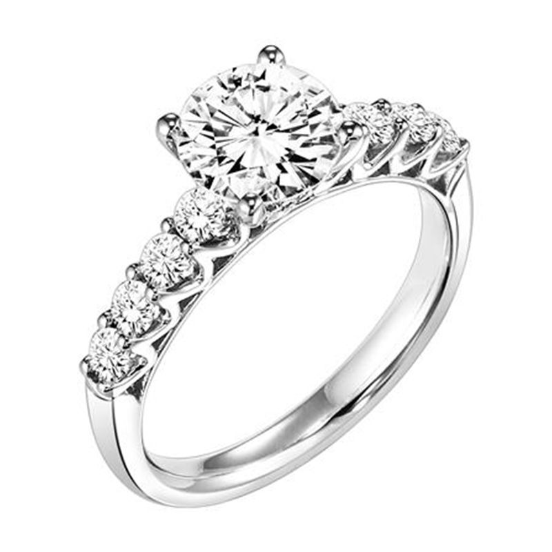 DIVINE Four Prong Diamond Engagement Ring With Large Accent Diamonds