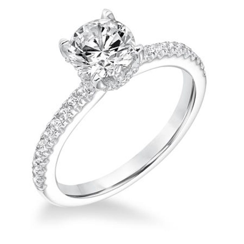 LIEBE Four Prong Diamond Engagement Ring With Sidestones