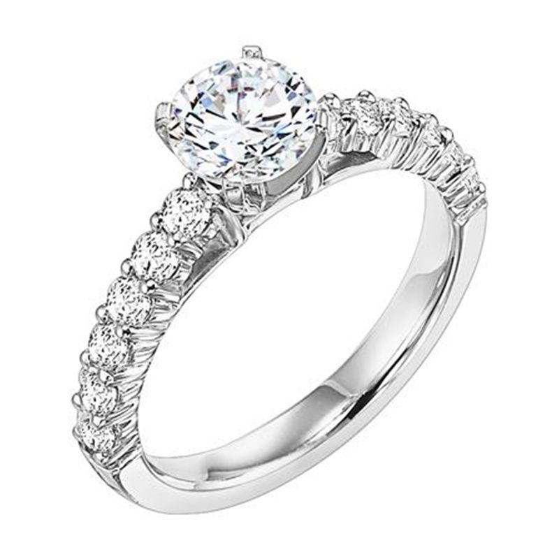 RHEA Four Prong Diamond Engagement Ring With Sidestones