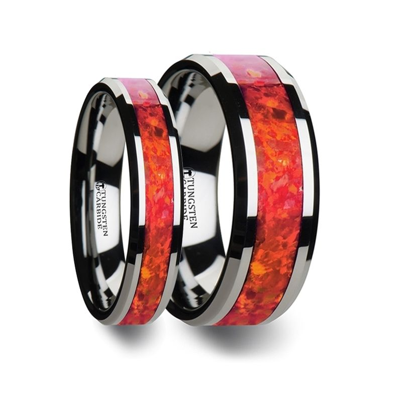 NEBULA Matching Ring Set  Tungsten Wedding Band with Beveled Edges and Red Opal Inlay - 4mm & 8 mm