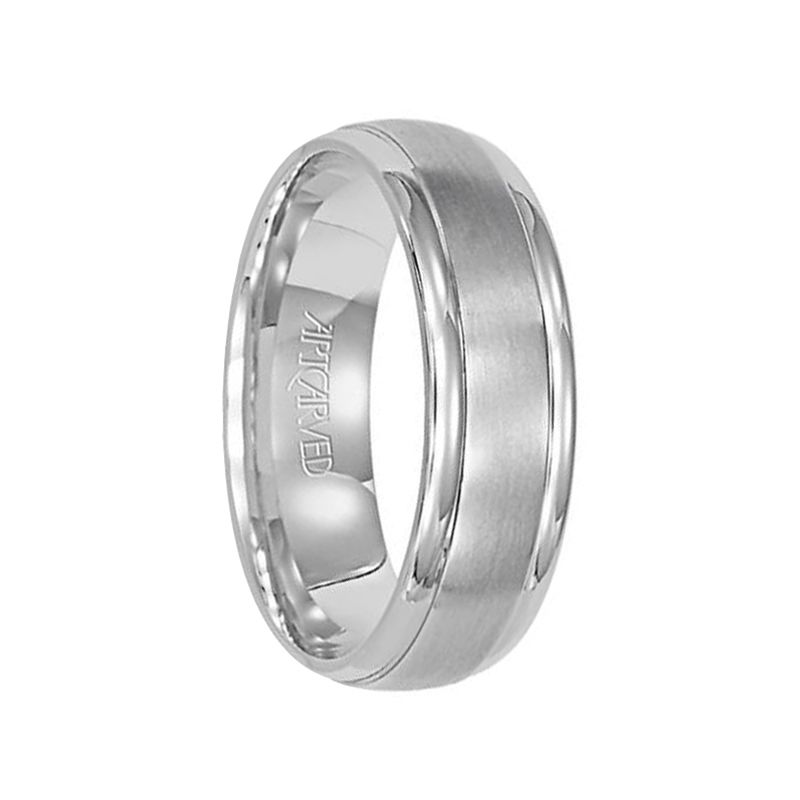 14k White Gold Wedding Band Domed Polished Finish by Artcarved - 4mm - 10mm