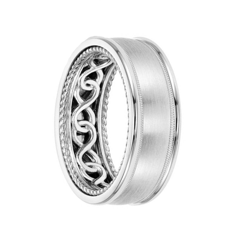 14k White Gold Wedding Band Rope Infinity Inner Design Brushed Finish Domed Edges by Artcarved - 8mm